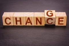 Деревянные кубы как карьера, и финансовое развитие концепции или личных - измените к шансу стоковое изображение rf