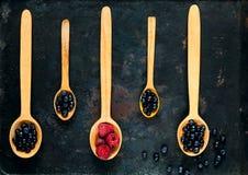 Деревянные ложки с сортированными ягодами на предпосылке старых ржавых металлов, концепции натуральных продуктов, detoxification стоковые изображения