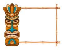 Деревянные маска Tiki и рамка бамбука иллюстрация штока