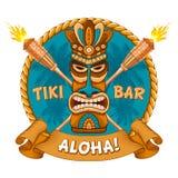 Деревянные маска Tiki и шильдик бара иллюстрация штока