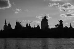 Деревянные мельница и Кремль на банках пруда черно-белых Стоковая Фотография