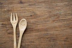 Деревянные ложка и вилка Стоковая Фотография RF