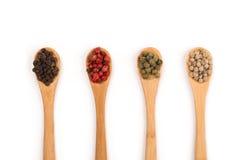 Деревянные ложки с различной специей перца на белой предпосылке Стоковая Фотография