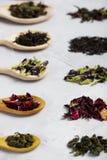 Деревянные ложки с различными листьями чая на сером конкретном backgro Стоковое Изображение RF