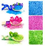 Деревянные ложки с солью для принятия ванны цвета, комплектом Стоковые Изображения RF