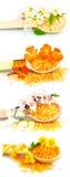 Деревянные ложки с солью для принятия ванны цвета Стоковое Изображение RF