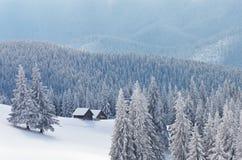 Деревянные дома в лесе горы в зиме Стоковые Изображения