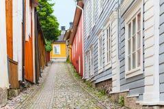 Деревянные дома в старом городке Porvoo, Финляндии Стоковая Фотография