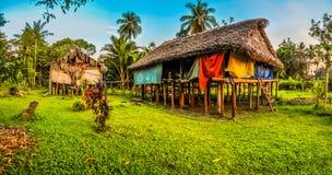 Деревянные дома в Avatip Стоковые Изображения RF