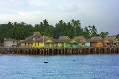 Деревянные дома, остров Penyengat, Индонезия стоковые фото