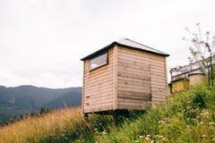 Деревянные дома для пчел Природа в горах Стоковая Фотография RF