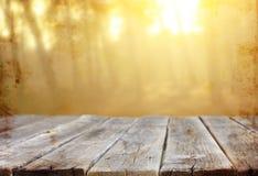 Деревянные доски и предпосылки природы лета освещают среди деревьев Стоковое Изображение RF