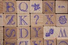 Деревянные письма алфавита штемпелей Стоковая Фотография RF