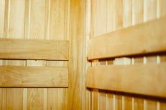 Деревянные полки в сауне Стоковое Фото