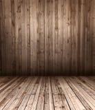 Деревянные пол и стена стоковые фото