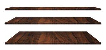 Деревянные полки изолированные на белизне Стоковое Изображение