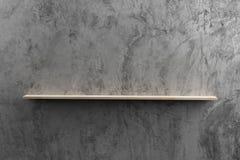 Деревянные полки на сырцовой стене цемента Стоковая Фотография