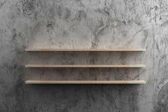 Деревянные полки на сырцовой стене цемента Стоковое Изображение RF
