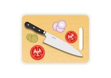 Деревянные прерывать или разделочная доска с ножом шеф-повара на белой предпосылке также вектор иллюстрации притяжки corel Стоковое Изображение RF