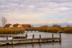 Деревянные пристани в Neusiedler видят в ржавчине городка, Австрии стоковые изображения rf