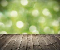 Деревянные планки на предпосылке bokeh Стоковые Изображения