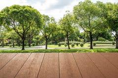 Деревянные планки пол и крыша около цветочного сада Стоковое Изображение RF