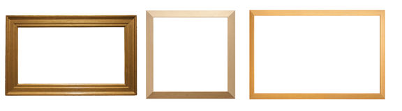 Деревянные рамки на белой предпосылке Стоковое Изображение