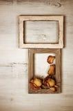 Деревянные рамки фото с сухими розами Стоковое фото RF