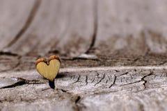 Деревянные сердца установили славно на винтажной деревянной предпосылке Скопируйте космос, концепцию любов стоковые изображения rf