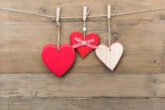 Деревянные сердца влюбленности Стоковая Фотография RF