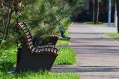 Деревянные скамьи в квадрате стоковые изображения rf