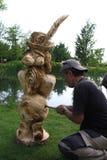 Деревянные скульптуры в реальном маштабе времени с искусством Settala ` Prem - Mi - Италия Стоковые Изображения
