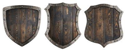 Деревянные средневековые heraldic установленные экраны изолировали иллюстрацию 3d иллюстрация вектора