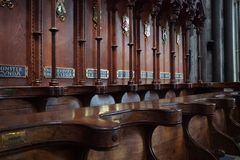 Деревянные стойлы клироса в соборе Солсбери стоковое изображение rf