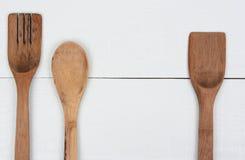 Деревянные утвари 3 кухни Стоковые Фото