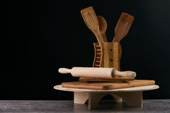 Деревянные утвари кухни Стоковое Изображение RF