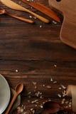 Деревянные утвари кухни Стоковое Изображение