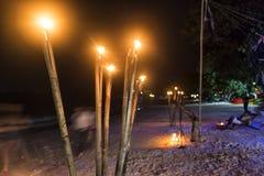 Деревянные факелы огня стоковые изображения rf