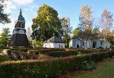 Деревянные церков и кладбища, в Ludvika, Швеция, Европа Стоковая Фотография