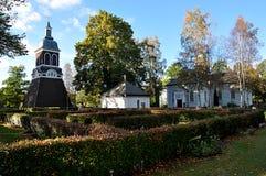 Деревянные церков и парк в Ludvika, Швеции, Европе Стоковые Изображения