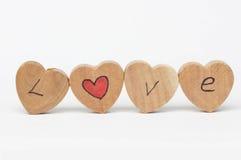 Деревянные часы с текстом влюбленности Стоковое Изображение
