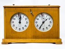 Деревянные часы шахмат стоковое фото