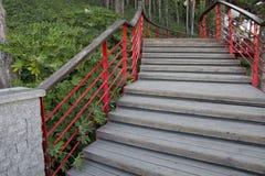 Деревянные шаги с красными перилами Стоковые Фотографии RF