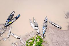 Деревянные шлюпки на озере Стоковые Фото