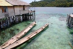 Деревянные шлюпки в островах Togian Стоковое Изображение RF