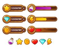 Деревянные элементы игры с баром прогресса Установленные имущества игры шаржа Элементы GUI вектора Панели добавлению для игрового Стоковые Фото
