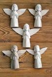 Деревянные figurines ангелов Стоковые Изображения RF