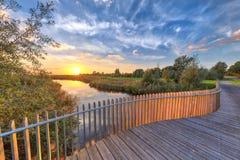 Деревянный балкон балюстрады на мосте стоковое фото rf