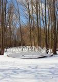 Деревянный белый мост над снежной, который замерли водой Стоковые Фотографии RF