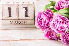 Деревянный блок с датой дня матерей, 11-ое марта Стоковая Фотография RF